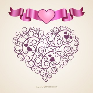 Calligraphic Heart Free Vector