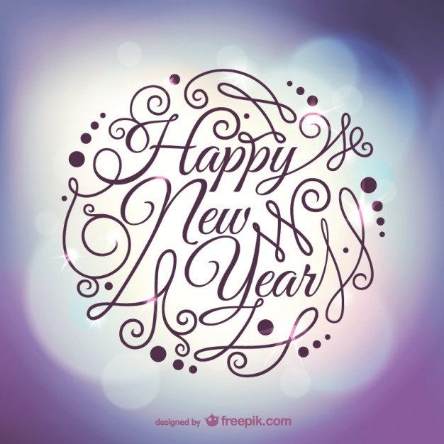 Calligraphic New Year Card Free Vector | 123Freevectors