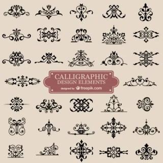 Calligraphy Retro Swirl Ornaments Free Vector