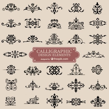 Calligraphy Retro Swirl Ornaments Free Vector