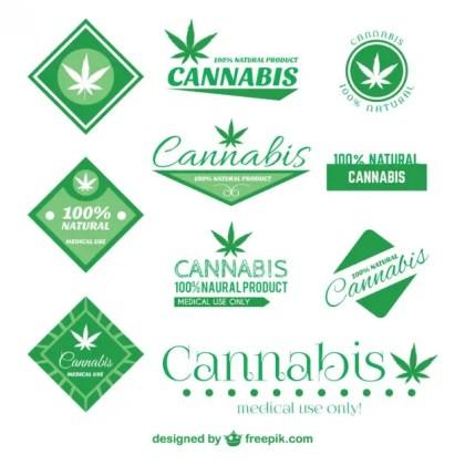 Cannabis Badge Set Free Vector