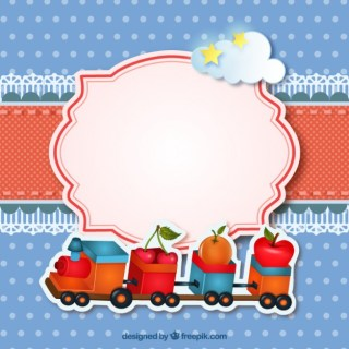Card with a Train Toy Free Vector
