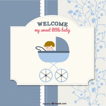 Card with Baby in Stroller in Scrapbook Style Free Vector