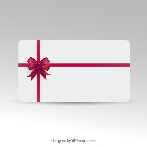 Card with Red Ribbon Template Free Vector