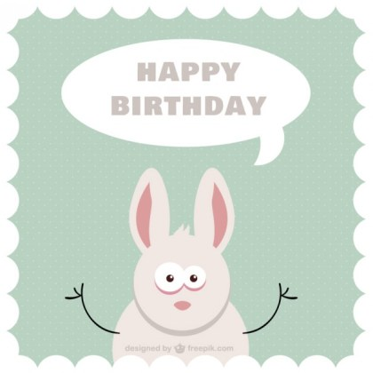 Cartoon Bunny B-Day Card Free Vector