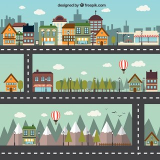 Cartoon City Free Vector