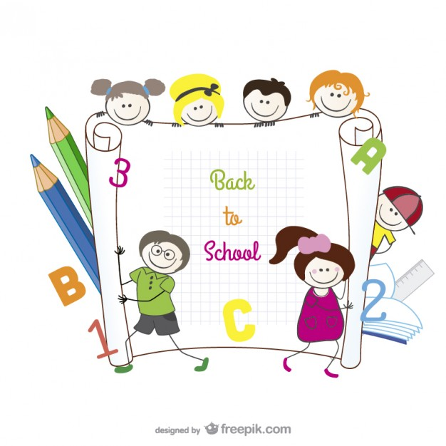 Cartoon Hand Painted Students Material Free Vector