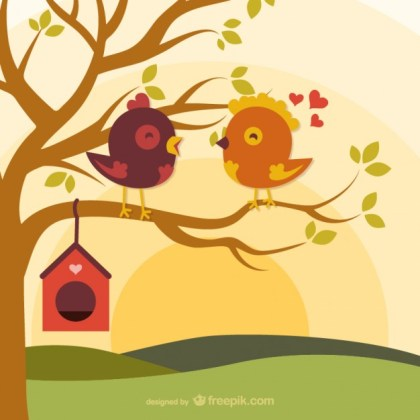 Cartoon Love Birds on Branch Free Vector