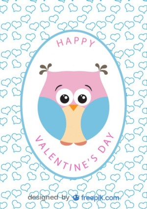Cartoon Owl Valentines Day Card Free Vector