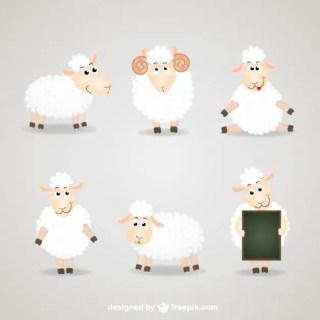 Cartoon Sheep Collection Free Vector