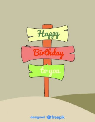 Cartoon Signs Birthday Card Retro Style Free Vector