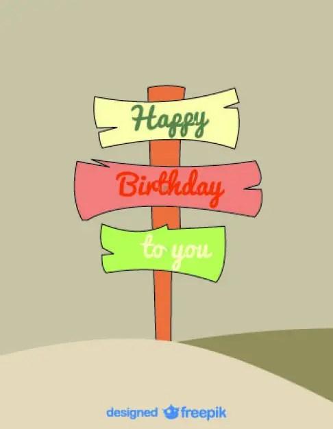 Cartoon Signs Birthday Card Retro Style Free Vector