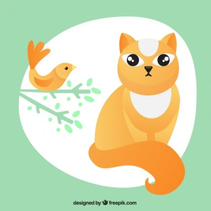 Cat and Bird Illustration Free Vector