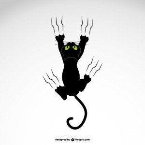 Cat Grabing with Claws Design Free Vector