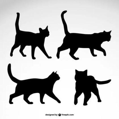 Cat Silhouettes Design Free Vector