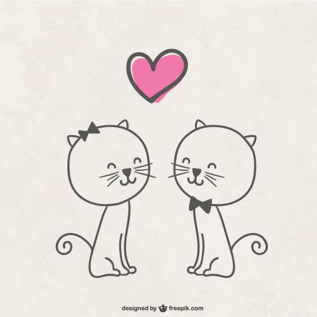 Cats in Love Free Vector
