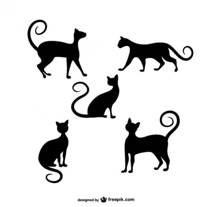Cats Silhouettes Pack Free Vector