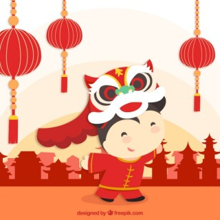 Celebrating Chinese New Year Free Vector