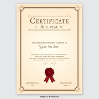 Certificate of Achievement Free Vector
