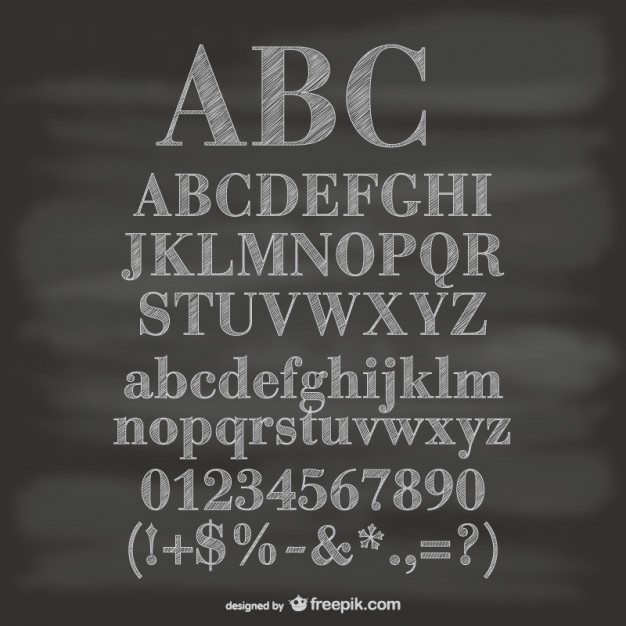 Chalkboard Alphabet Numbers and Symbols Free Vector