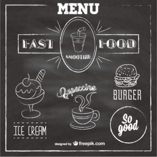 Chalkboard Fast Food Menu Free Vector