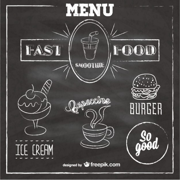 Chalkboard Fast Food Menu Free Vector