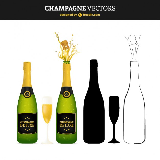 Champagne Bottles for Celebration Free Vector
