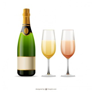 Champagne Glasses and Bottle Free Vector