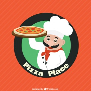 Chef Character with Pizza Logo Free Vector