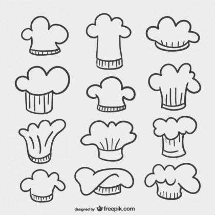 Chef Hats Drawings Free Vector