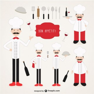 Chefs Illustrations Collection Free Vector