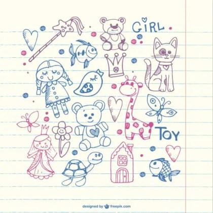 Children Doodles Free Vector