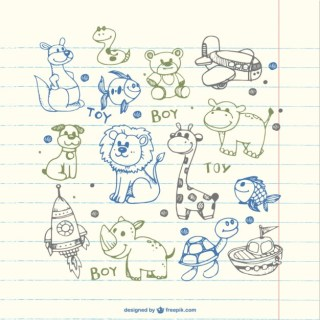 Children Drawings of Animals Free Vector