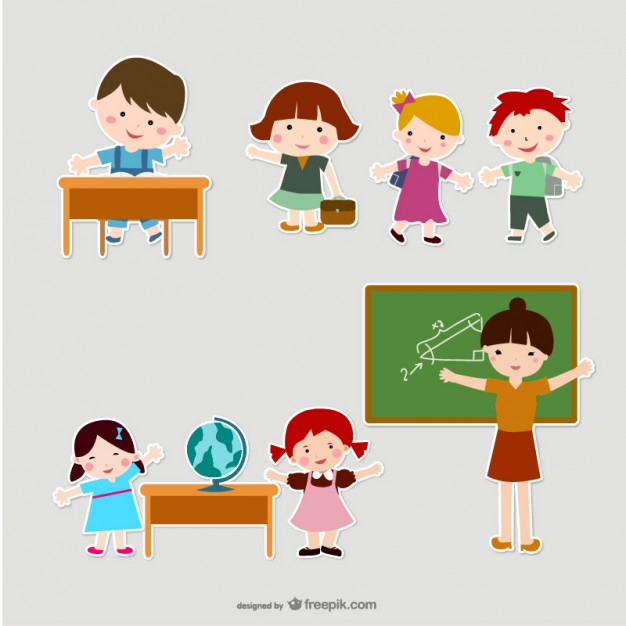 Childrens and Teachers in Scrapbook Style Free Vector