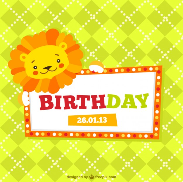 Childrens Birthday Card Free Vector
