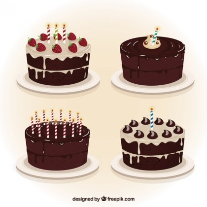 Chocolate Birthday Cakes Collection Free Vector
