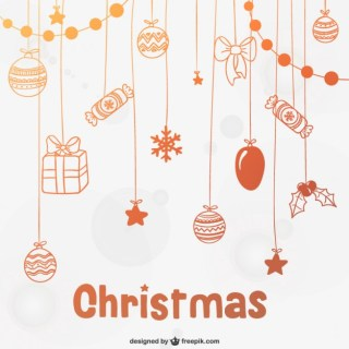 Christmas Background with Baubles and Candy Free Vector