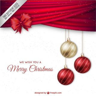 Christmas Background with Elegant Baubles Free Vector