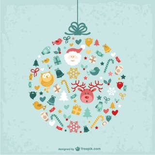 Christmas Bauble with Cute Ornaments Free Vector