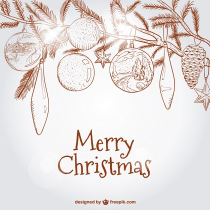 Christmas Card with Baubles on Tree Free Vector