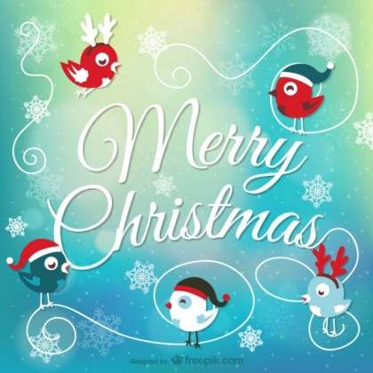 Christmas Card with Birds Free Vector