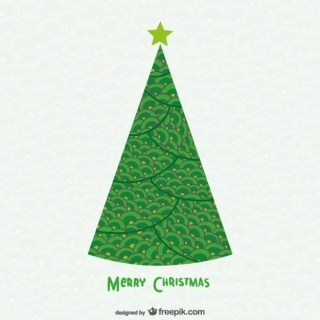 Christmas Card with Conical Tree Free Vector