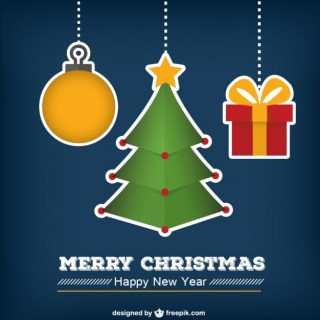 Christmas Card with Cute Baubles Free Vector