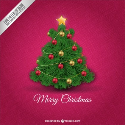 Christmas Card with Cute Tree Free Vector