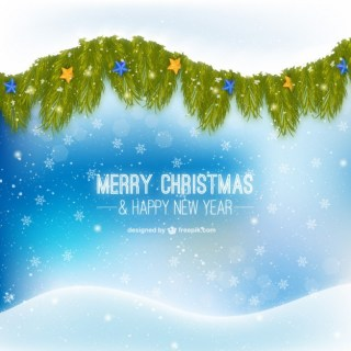 Christmas Card with Green Leaves and Snowflakes Free Vector