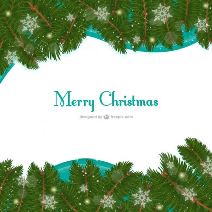 Christmas Card with Green Leaves Free Vector