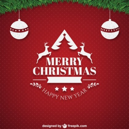 Christmas Card with Ornaments Free Vector