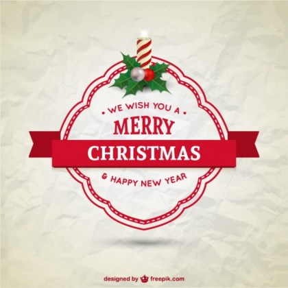 Christmas Card with Paper Texture Free Vector