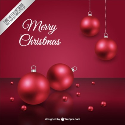 Christmas Card with Red Baubles Free Vector