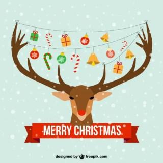 Christmas Card with Reindeer Head Free Vector